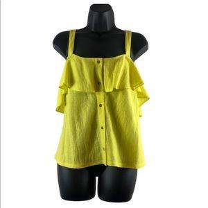 gianni bini ruffle top XL button front yellow